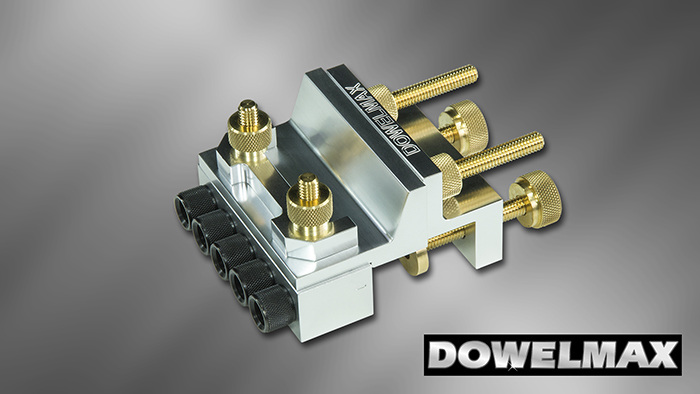 Dowelmax Classic dowel jig in face joint configuration.