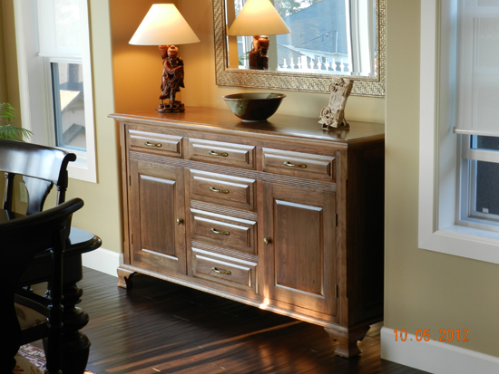Completed and stained sideboard as built in the article.