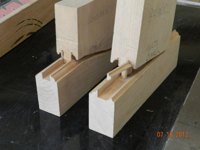Mortise and tenon wood joint strength test samples after failure.