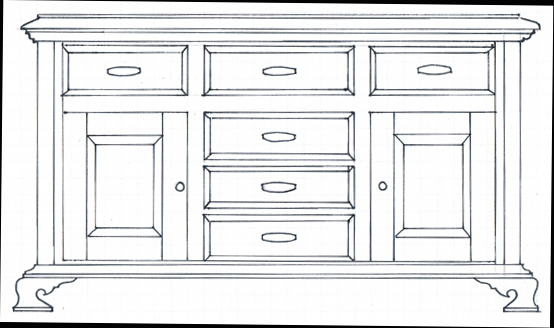 design-sketch-of-wood-sideboard-project-to-be-built-from-this-article