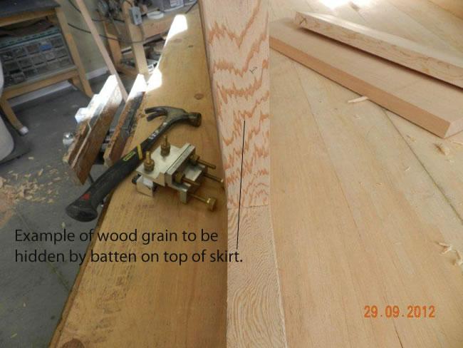 Wood grain to be hidden by workbench skirt top batten.
