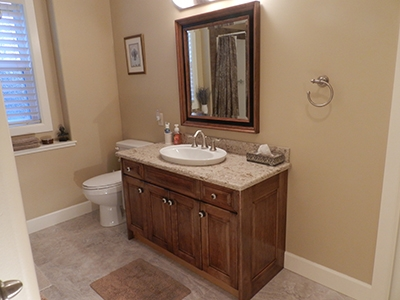 Bathroom Vanity Cabinet Refaced With 100% Dowel Construction