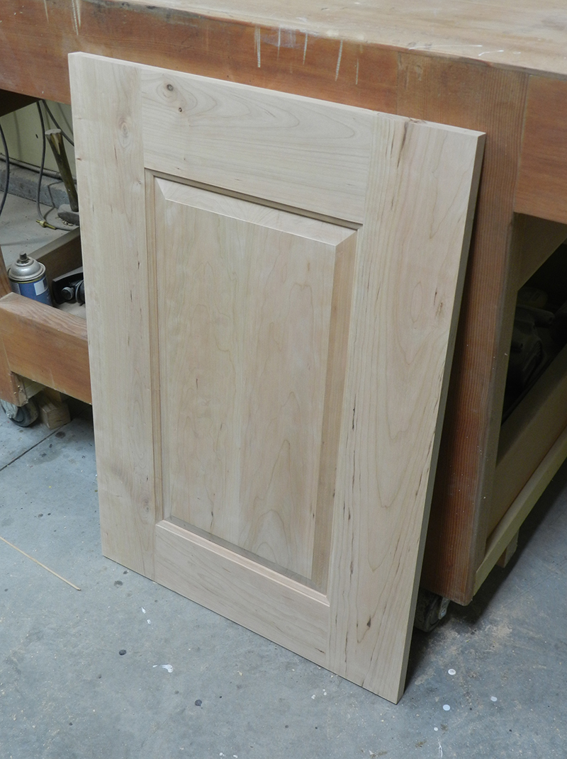Raised panel side wall made for bathroom vanity cabinet rebuild.