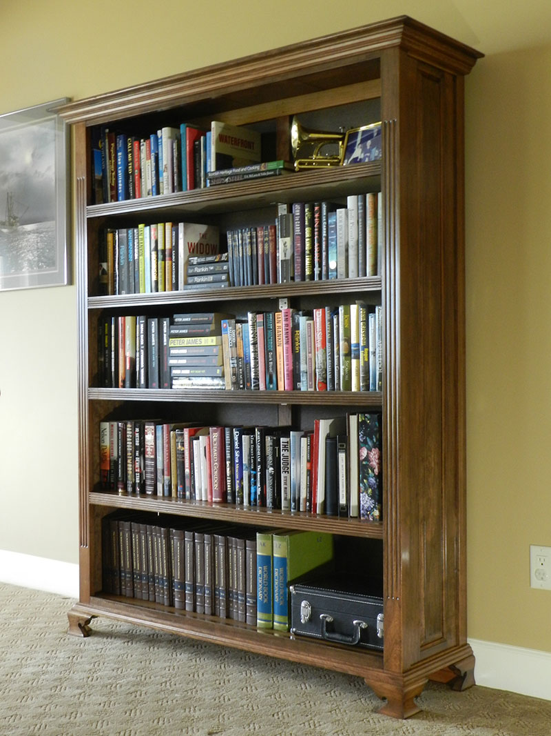 Finished design of the bookcase built in this article in use at Jim's home.