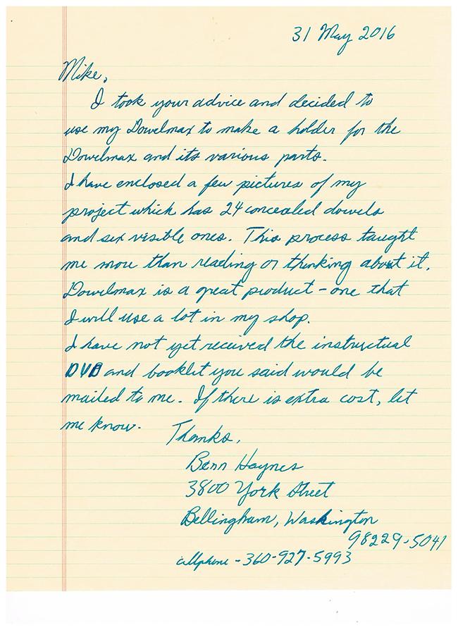 Letter from Benn Haynes-650