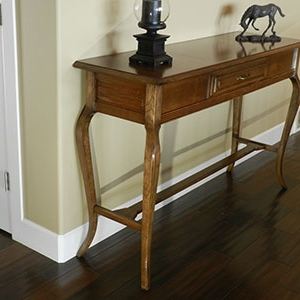 photograph of finished entryway table assembly built for this project instructions page after staining and varnishing