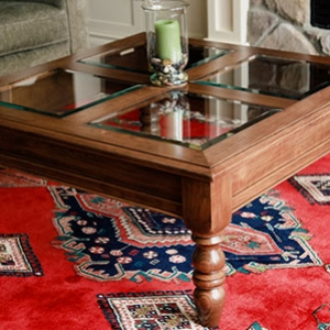 Photograph of coffee table built for project instructions page.