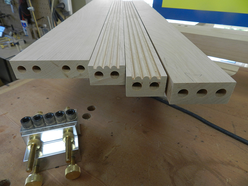 photo of dowel bore detail at ends of rails used to build the armoire frame assembly front section
