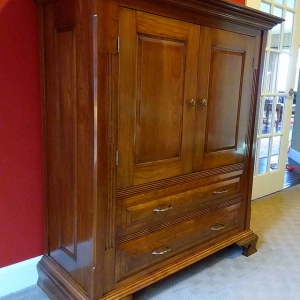 photograph of completed and finished armoire project built for instruction article