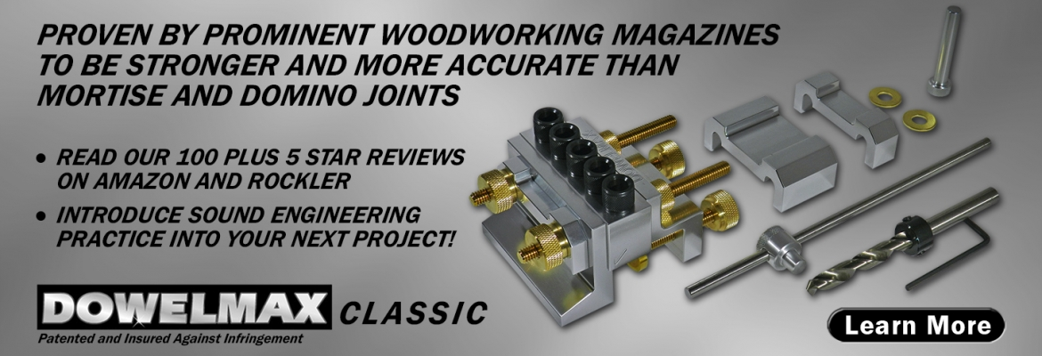 photo of Dowelmax Classic dowel jig system contents with product feature headlines
