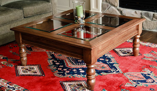 photo of finished coffee table with 100% dowel construction built by Dowelmax inventor Jim Lindsay
