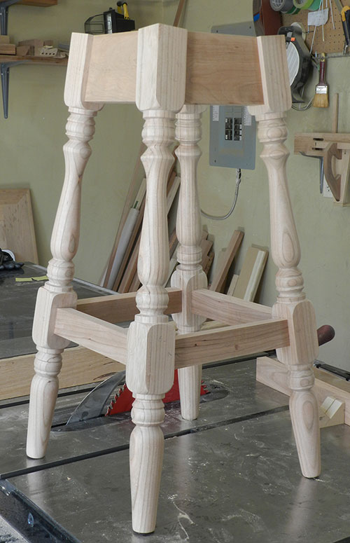 photo of dry fitted kitchen counter stool frame assembly built for this project instructions article