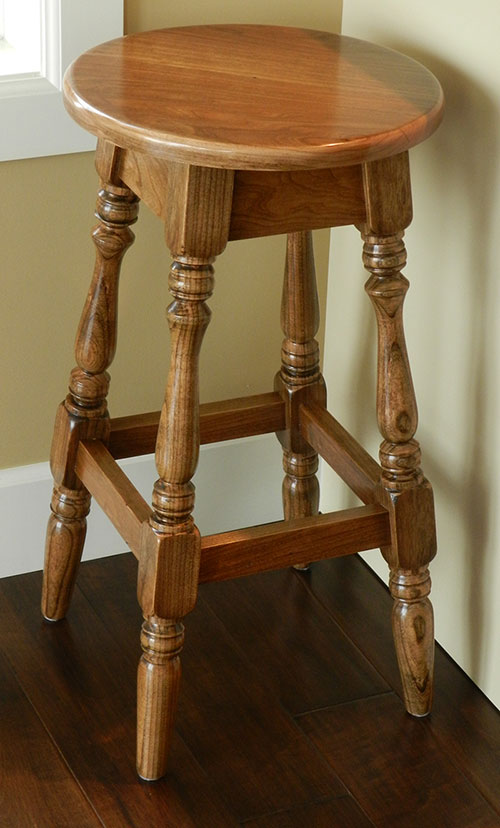 photo of finished kitchen counter stool with 100% dowel construction built by Dowelmax inventor Jim Lindsay