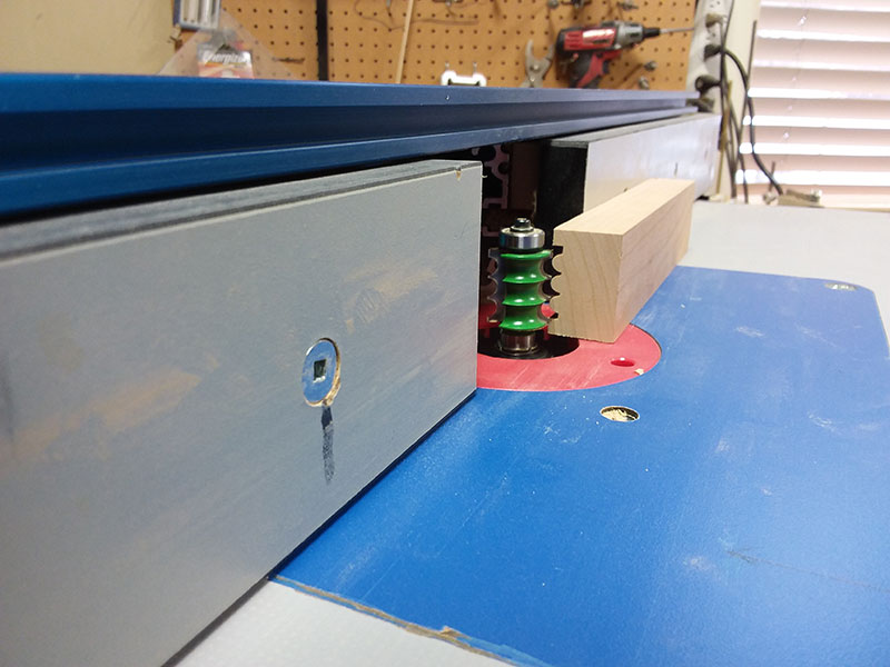 photo of the scalloped lower rail used to build the bedroom table drawer fascia frame assembly