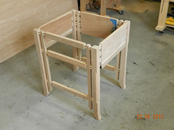 photo of multiple dowel joints used to build the project gallery end table frame assembly
