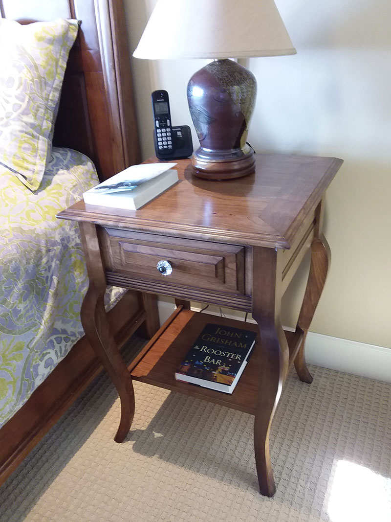photo of bedside table built by Dowelmax inventor Jim Lindsay for this project article shown finished