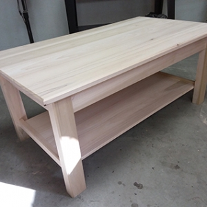 photo of back to basics coffee table project assembly built using dowelmax