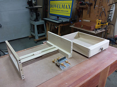 photo of the drawer and slide assembly build for the nightstand project